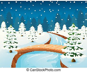 Cartoon winter landscape with forest and small wooden bridge over river