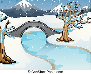 Cartoon winter landscape with mountains and small stone bridge over river