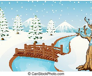 Cartoon winter landscape with mountains and small wooden bridge over river