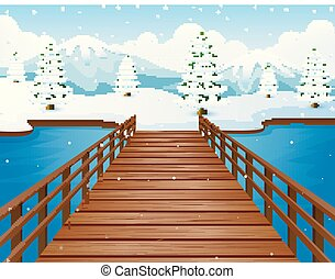 Cartoon winter landscape with mountains and wooden bridge over river