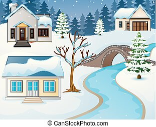 Cartoon winter rural landscape with houses and stone bridge over river