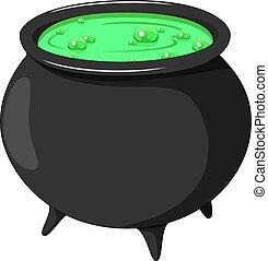 Cartoon witch cauldron isolated on white background