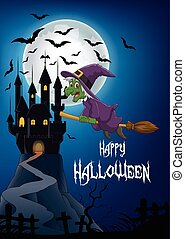 Cartoon witch flying on broom stick