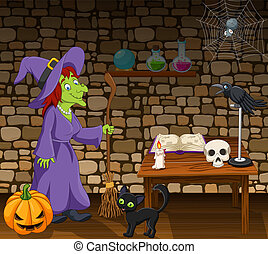 Cartoon witch holding a broomstick in the room