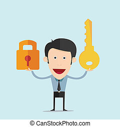 Vector illustration of cartoon with a key flat design