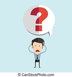 Vector illustration of cartoon with bar question mark in...