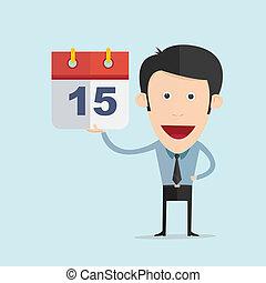 Vector illustration of cartoon with calendar in flat design