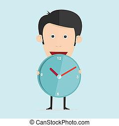 Vector illustration of cartoon with clock in flat design