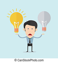 Vector illustration of cartoon with light bulb flat design