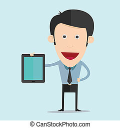 Vector illustration of cartoon with tablet flat design