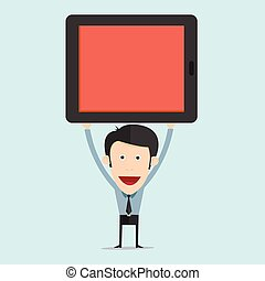 Vector illustration of cartoon with tablet flat design