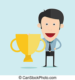 Vector illustration of cartoon with trophy flat design