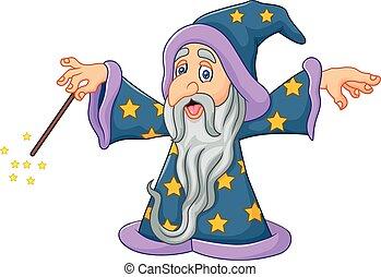 Cartoon wizard is waving his magic