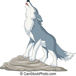 Cartoon wolf howling on the rock