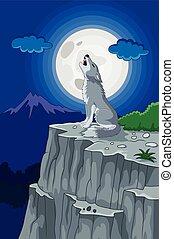Vector illustration of Cartoon Wolf howling under the full moon
