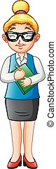 Cartoon woman teacher standing