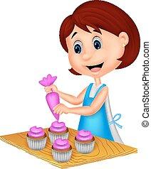 Cartoon woman with apron decorating