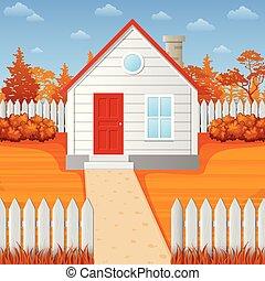 Cartoon wooden house in fall season