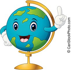 Cartoon world globe pointing