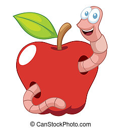 Vector illustration of Cartoon Worm with Apple
