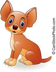 Cartoon young dog sitting