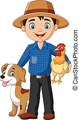 Vector illustration of Cartoon young farmer with hen and dog