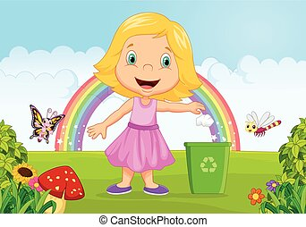 Cartoon Young girl throwing trash i