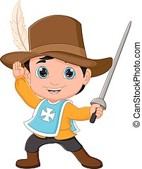 cartoon young musketeer holding sword