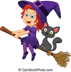 Cartoon young witch flying on her b