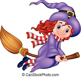 Cartoon young witch flying with a broom