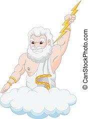Cartoon zeus holding thunderbolt - Vector illustration of...