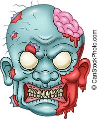 Cartoon zombie head icon
