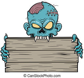 Vector illustration of Cartoon zombie holding wooden sign