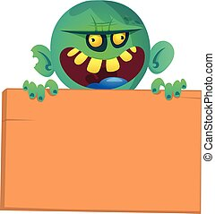 Vector illustration of Cartoon zombie holding wooden sign. Isolated on the white background. Halloween design element for banner, postcard, poster. Illustration.