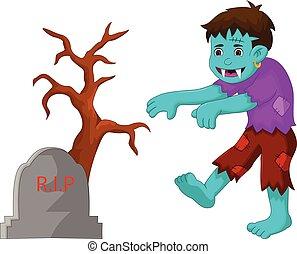 cartoon zombie walking in cemetery