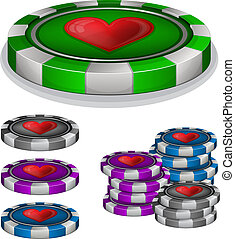Casino chips with hearts sign