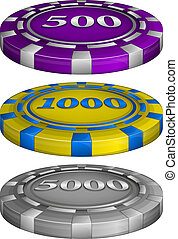 Vector illustration of Casino poker chips with cost 500, 1000, 5000