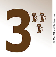 Vector illustration of cat and number 3
