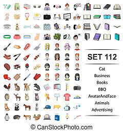 Vector illustration of cat, business, books, bbq, avatar fase animals advertising icon web set.