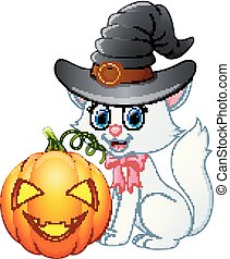 Cat cartoon with a witch hat holding pumpkin