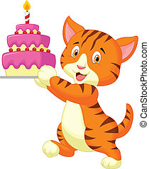 Cat cartoon with birthday cake