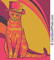 vector illustration of Cat in a hat
