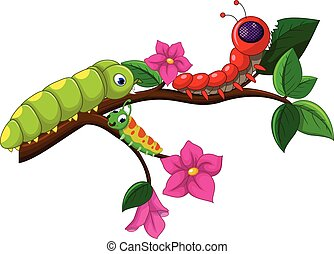 vector illustration of caterpillar cartoon collection