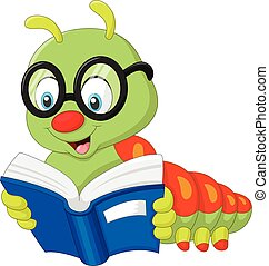 Vector illustration of Caterpillar reading book
