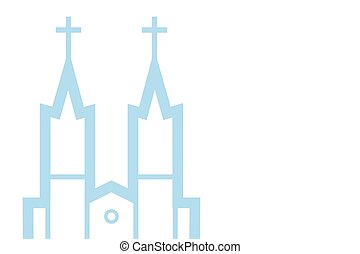 Vector illustration of catholic church, vector eps 10 icon background