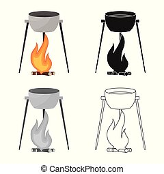 Vector illustration of cauldron and fire logo. Collection of cauldron and campfire vector icon for stock.