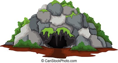 cave cartoon with forest background