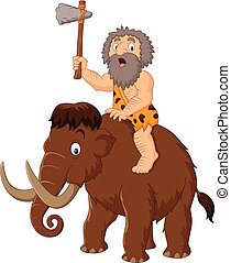 Caveman riding a mammoth - Vector illustration of Caveman...