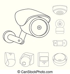 vector illustration of cctv and camera sign set of cctv and system IP Camera vector illustration of cctv and camera sign set of cctv and system stock symbol for