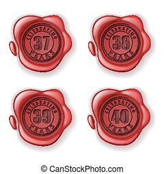 Celebrating 37-40 years greeting card wax seal - vector...